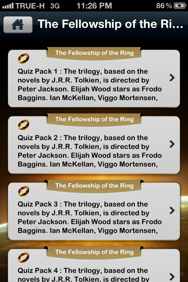 Screenshot iQuiz for The Lord of the Rings Movies All Series ( Trivia )